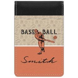 Retro Baseball Genuine Leather Small Memo Pad (Personalized)