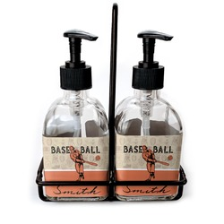 Retro Baseball Soap & Lotion Dispenser Set (Glass) (Personalized)