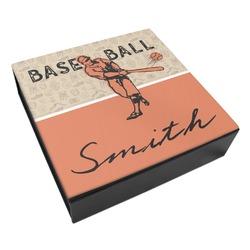 Retro Baseball Leatherette Keepsake Box - 3 Sizes (Personalized)