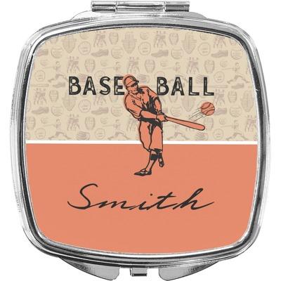Retro Baseball Compact Makeup Mirror (Personalized)