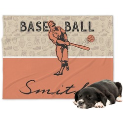 Retro Baseball Minky Dog Blanket (Personalized)
