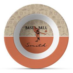 Retro Baseball Plastic Bowl - Microwave Safe - Composite Polymer (Personalized)