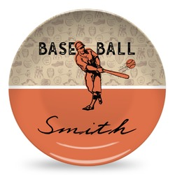 Retro Baseball Microwave Safe Plastic Plate - Composite Polymer (Personalized)
