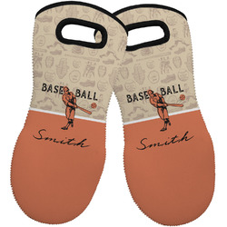 Retro Baseball Neoprene Oven Mitts - Set of 2 w/ Name or Text