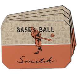 Retro Baseball Dining Table Mat - Octagon w/ Name or Text