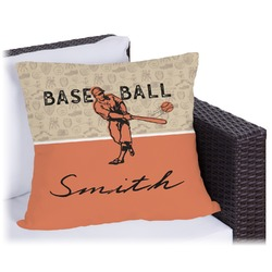 Retro Baseball Outdoor Pillow (Personalized)