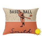Retro Baseball Outdoor Throw Pillow (Rectangular) (Personalized)