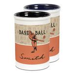 Retro Baseball Ceramic Pencil Holder - Large
