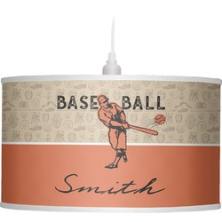 Retro Baseball Drum Pendant Lamp Linen (Personalized)