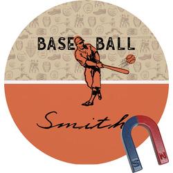Retro Baseball Round Fridge Magnet (Personalized)