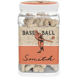 Retro Baseball Pet Treat Jar (Personalized)