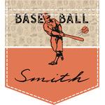 Retro Baseball Iron On Faux Pocket (Personalized)