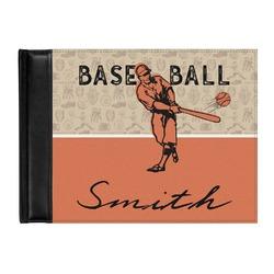 Retro Baseball Genuine Leather Guest Book (Personalized)