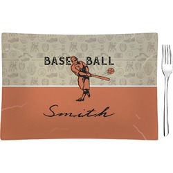 Retro Baseball Glass Rectangular Appetizer / Dessert Plate - Single or Set (Personalized)
