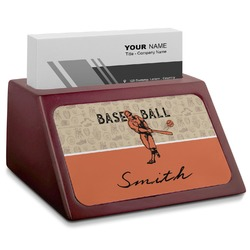 Retro Baseball Red Mahogany Business Card Holder (Personalized)