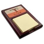 Retro Baseball Red Mahogany Sticky Note Holder (Personalized)