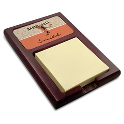 Retro Baseball Red Mahogany Sticky Note Holder (Personalized)