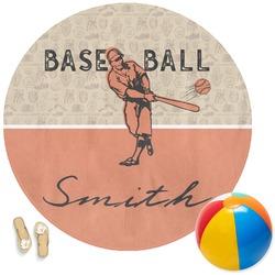 Retro Baseball Round Beach Towel (Personalized)