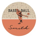 Retro Baseball Round Decal (Personalized)