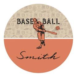 Retro Baseball Round Decal - Custom Size (Personalized)