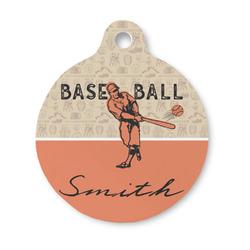 Retro Baseball Round Pet Tag (Personalized)