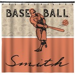 Retro Baseball Shower Curtain (Personalized)