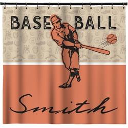 Retro Baseball Shower Curtain (Personalized)