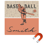Retro Baseball Square Car Magnet (Personalized)