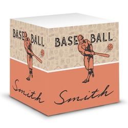 Retro Baseball Sticky Note Cube (Personalized)
