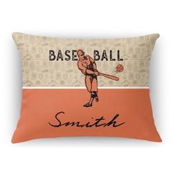 Retro Baseball Rectangular Throw Pillow Case (Personalized)