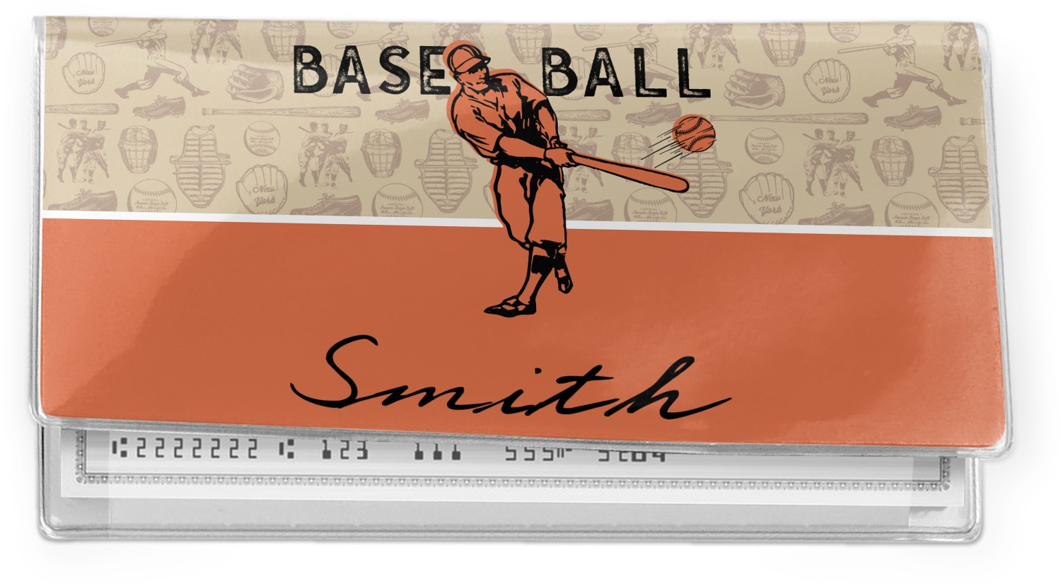 Personalized Baseball Jersey Canvas Checkbook Cover