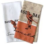 Retro Baseball Waffle Weave Kitchen Towel (Personalized)