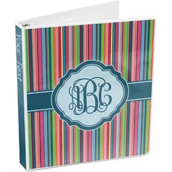 Retro Vertical Stripes2 3-Ring Binder (Personalized)