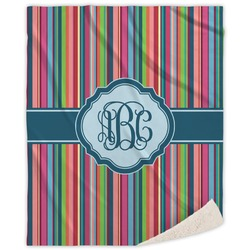 Retro Vertical Stripes2 Sherpa Throw Blanket (Personalized)