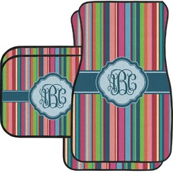 Retro Vertical Stripes2 Car Floor Mats Set - 2 Front & 2 Back (Personalized)