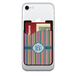 Retro Vertical Stripes2 Cell Phone Credit Card Holder (Personalized)