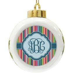Retro Vertical Stripes2 Ceramic Ball Ornament (Personalized)