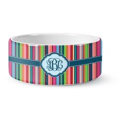Retro Vertical Stripes2 Ceramic Pet Bowl (Personalized)