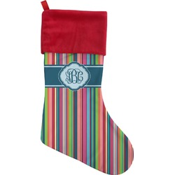 Retro Vertical Stripes2 Christmas Stocking (Personalized)