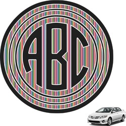 Retro Vertical Stripes2 Circle Monogram Car Decal (Personalized)