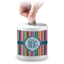 Retro Vertical Stripes2 Coin Bank (Personalized)