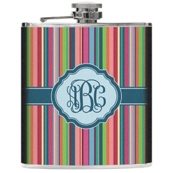 Retro Vertical Stripes2 Genuine Leather Flask (Personalized)