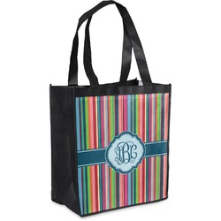 Retro Vertical Stripes2 Grocery Bag (Personalized)