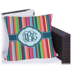 Retro Vertical Stripes2 Outdoor Pillow (Personalized)