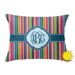 Retro Vertical Stripes2 Outdoor Throw Pillow (Rectangular) (Personalized)