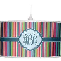 Retro Vertical Stripes2 Drum Pendant Lamp (Personalized)