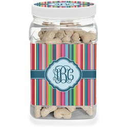 Retro Vertical Stripes2 Pet Treat Jar (Personalized)