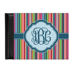 Retro Vertical Stripes2 Genuine Leather Guest Book (Personalized)