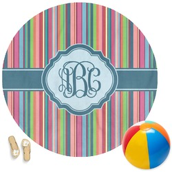 Retro Vertical Stripes2 Round Beach Towel (Personalized)
