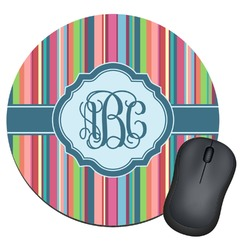 Retro Vertical Stripes2 Round Mouse Pad (Personalized)